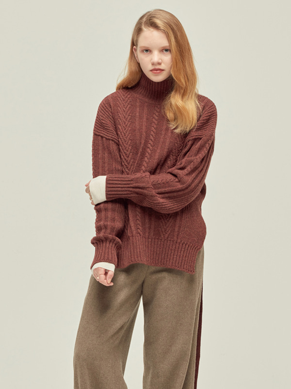 Short Back Cable Knit / M Red