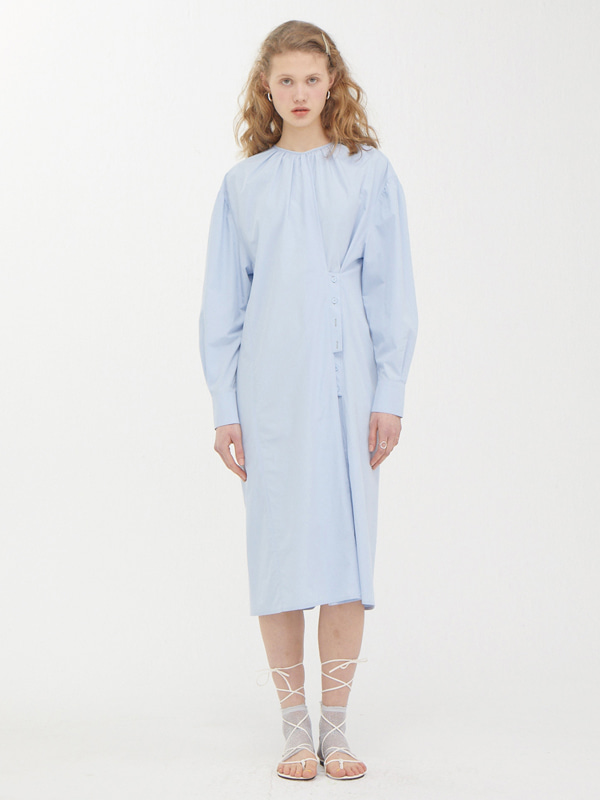 Two way Button Dress / Light Blue