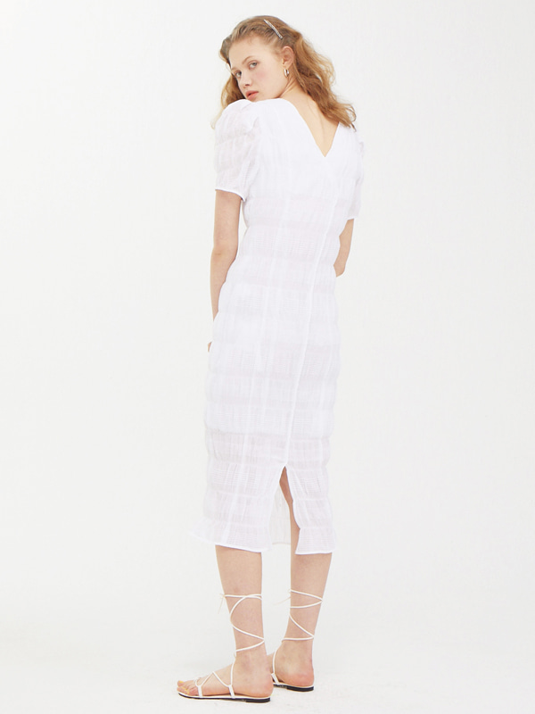 Puffy Wrinkle Dress / White