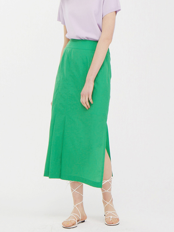 One Side Tuck Skirt / Green