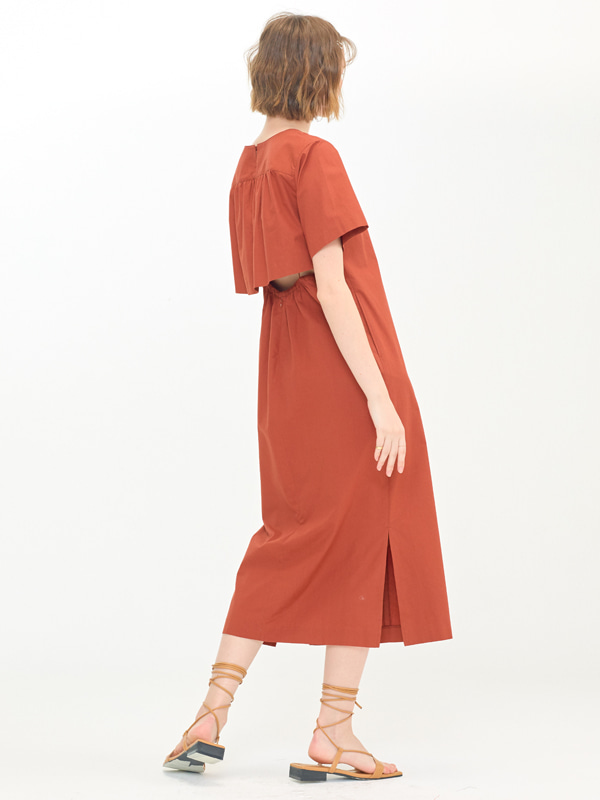 Back Wing Dress / Red Brown