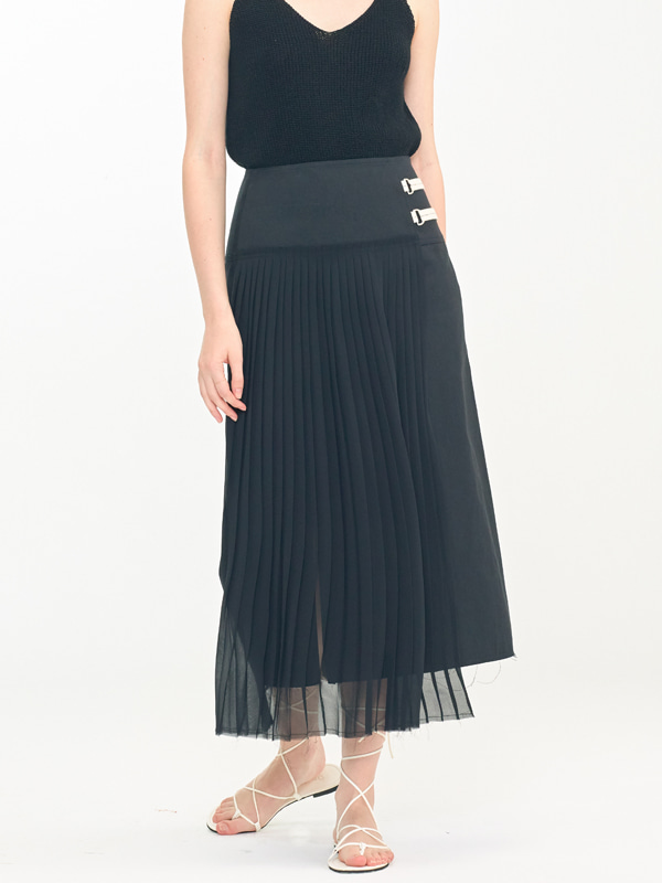 Sheer Pleats Mix Skirt / Black