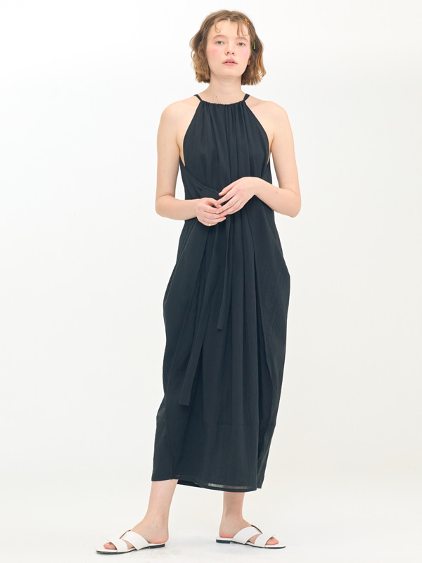 Wide Halter Dress / Black