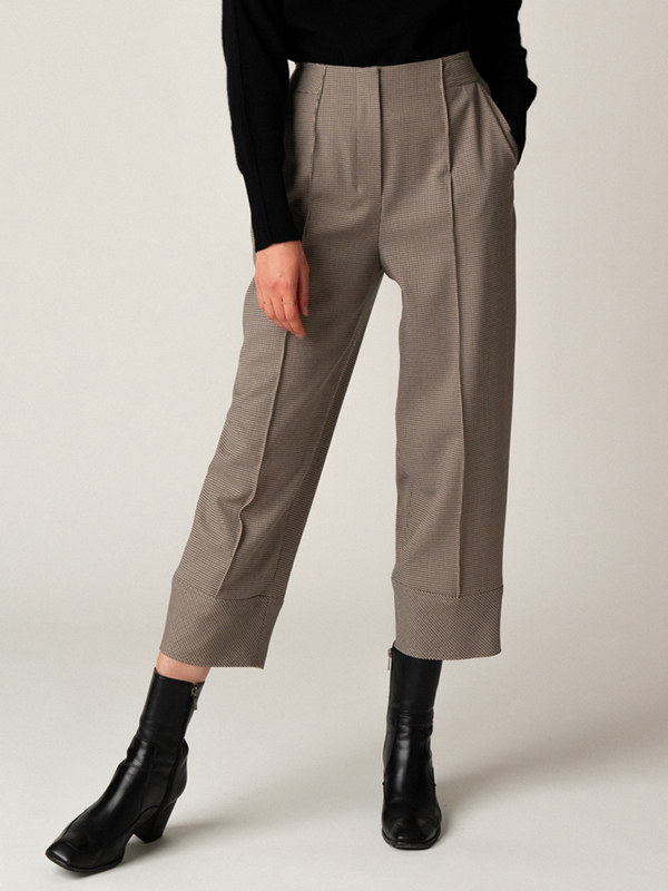 Check Pintuck Pants / Khaki