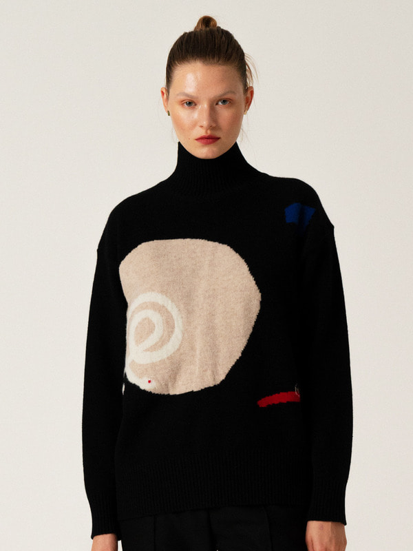 Intarsia Turtleneck Top / Black