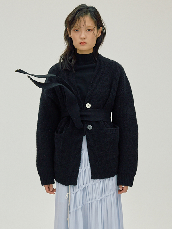 Mohair Belted Cardigan / Black